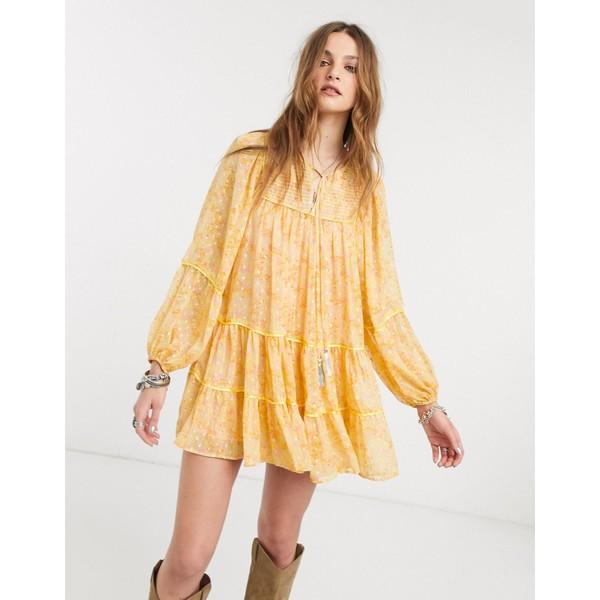 フリーピープル レディース ワンピース トップス Free People free swinging balloon sleeve mini dress Yellow combo