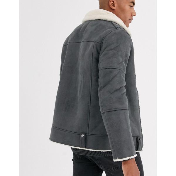 オンリーアンドサンズ メンズ ジャケット&ブルゾン アウター Only & Sons faux suede aviator jacket in gray Dark gray