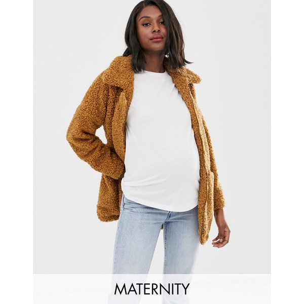 ママライシアス レディース コート アウター Mamalicious maternity multi functional teddy coat Brown