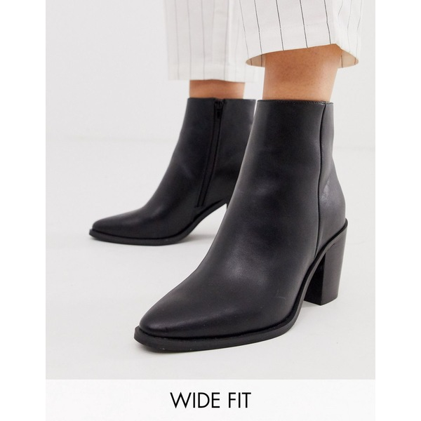 エイソス レディース ブーツ&レインブーツ シューズ ASOS DESIGN Wide Fit Bluebell clean western boots in black Black