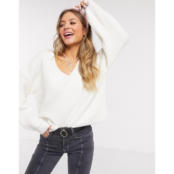 エイソス レディース ニット&セーター アウター ASOS DESIGN fluffy v neck ribbed sweater with balloon sleeve in recycled blend Cream