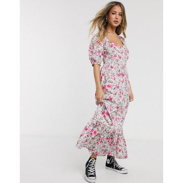 エイソス レディース ワンピース トップス ASOS DESIGN tiered maxi dress with puff sleeves and open back in ditsy floral print Ditsy floral print