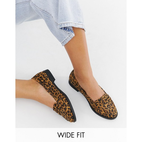 エイソス レディース サンダル シューズ ASOS DESIGN Wide Fit Minny flat shoes in Leopard Leopard