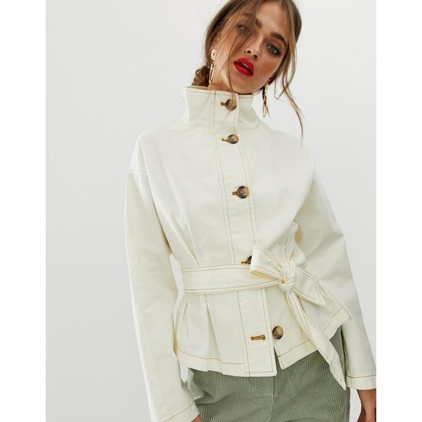 エイソス レディース ジャケット&ブルゾン アウター ASOS DESIGN waisted jacket with stitch detail Cream