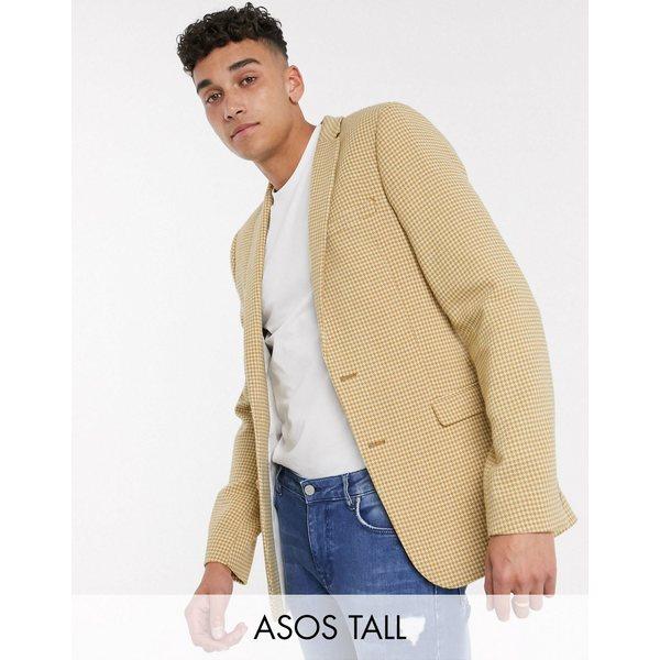 エイソス メンズ ジャケット&ブルゾン アウター ASOS DESIGN Tall super skinny wool mix blazer with micro check in mustard Yellow