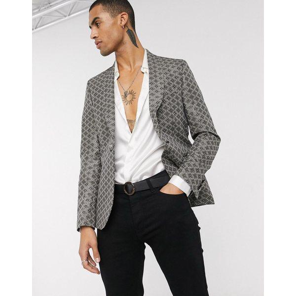 エイソス メンズ ジャケット&ブルゾン アウター ASOS DESIGN slim tuxedo blazer in gold jacquard Gold