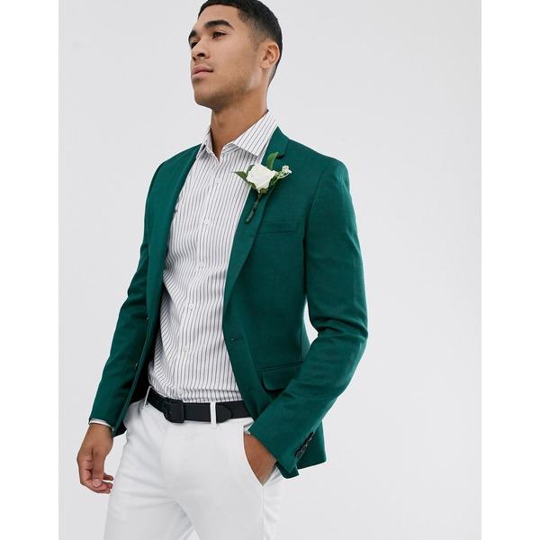 エイソス メンズ ジャケット&ブルゾン アウター ASOS DESIGN wedding super skinny wool mix blazer in green Green
