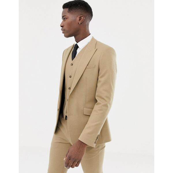 エイソス メンズ ジャケット&ブルゾン アウター ASOS DESIGN skinny suit jacket in camel micro texture Camel