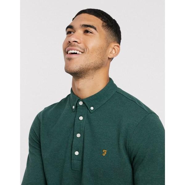 ペリーエリス メンズ ポロシャツ トップス Farah Ricky long sleeve polo shirt Green
