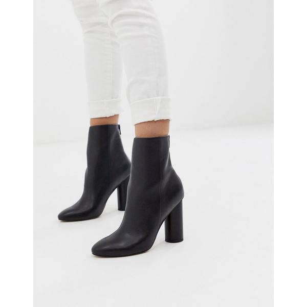 エイソス レディース ブーツ&レインブーツ シューズ ASOS DESIGN Egypt leather heeled boots in black Black leather
