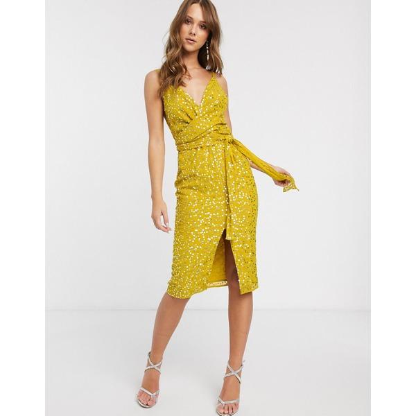 エイソス レディース ワンピース トップス ASOS DESIGN cami midi dress with wrap waist in scatter sequin Chartruse