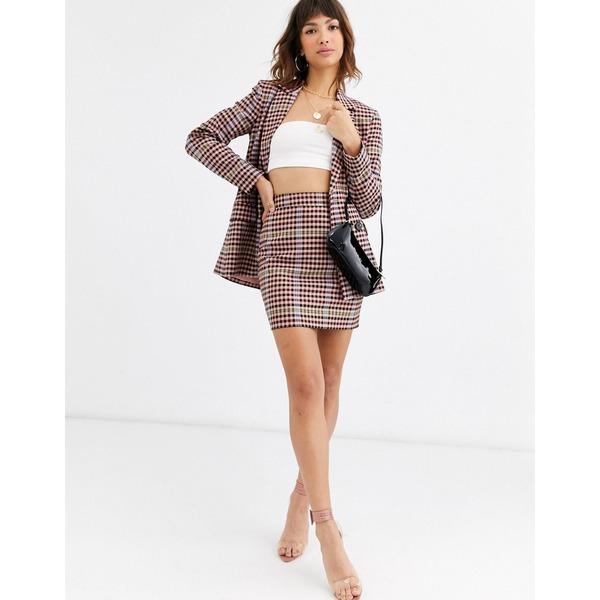 エイソス レディース スカート ボトムス ASOS DESIGN candy check mini suit skirt Check