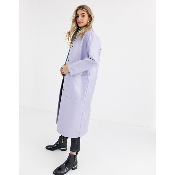 エイソス レディース コート アウター ASOS DESIGN patent trench coat in lilac Lilac