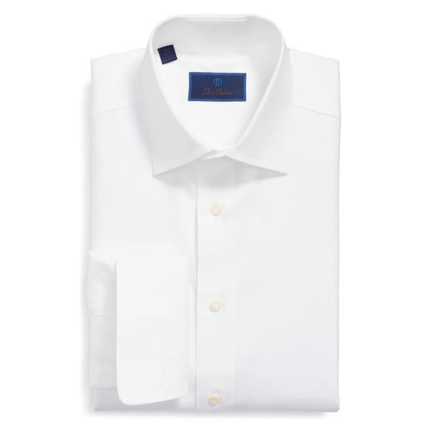 デイビッドドナヒュー メンズ シャツ トップス Regular Fit Texture French Cuff Cotton Dress Shirt White