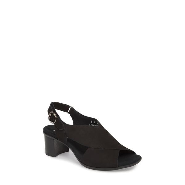 ムンロー レディース サンダル シューズ Laine Block Heel Sandal Black Nubuck Leather