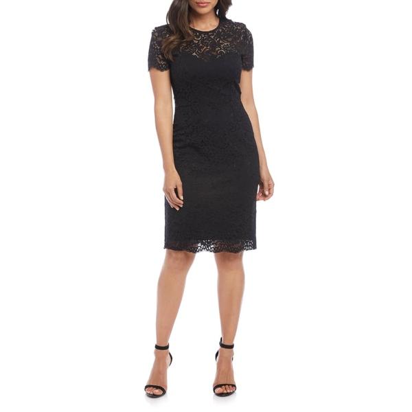 カレンケーン レディース ワンピース トップス Paris Lace Cocktail Dress Black W/ Black