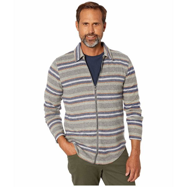 スレッズ・フォー・ソート メンズ コート アウター Joel Portland Stripe Zip Shirt Jacket Grey Multi