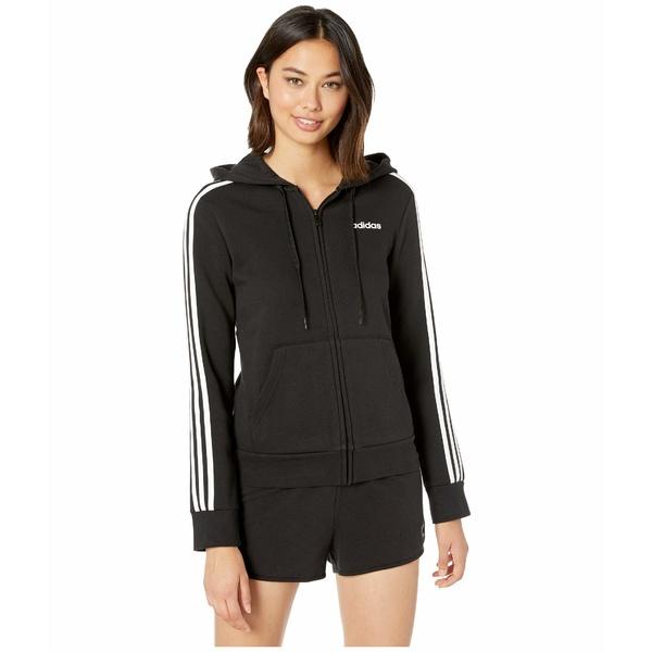 アディダス レディース パーカー・スウェットシャツ アウター Essential 3 Stripes Fleece Full Zip Hoodie Black/White