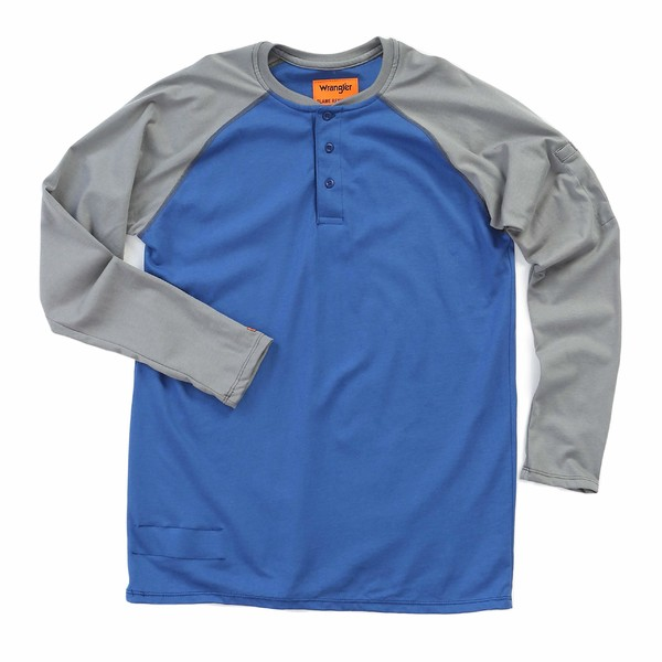 ラングラー メンズ シャツ トップス Flame-Resistant Long Sleeve Baseball Henley Blue