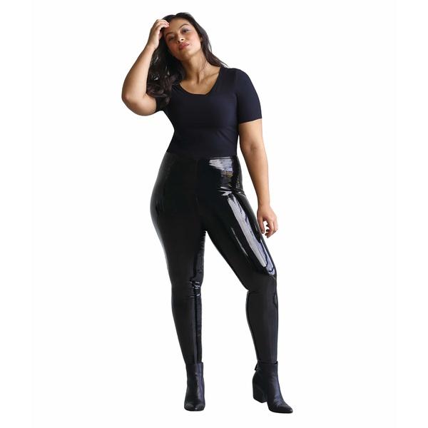 コマンドー レディース カジュアルパンツ ボトムス Plus Size Faux Patent Leggings with Perfect Control+ SLG25W Black