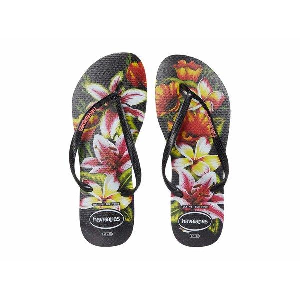 ハワイアナス レディース サンダル シューズ Slim Floral Flip Flop Black/Black:asty