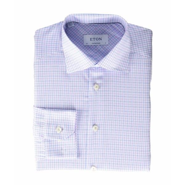 エトン メンズ シャツ トップス Contemporary Fit Plaid Button-Down Purple