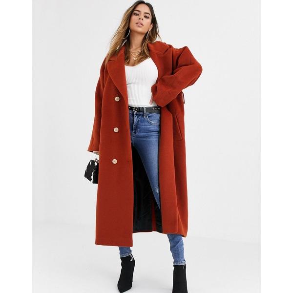 エイソス レディース コート アウター ASOS DESIGN oversized belted maxi coat in rust Rust
