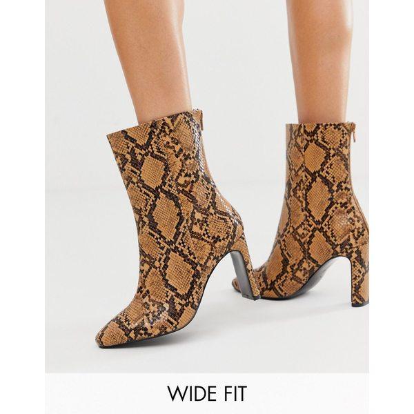 エイソス レディース ブーツ&レインブーツ シューズ ASOS DESIGN Wide Fit Eleanor high ankle boots in snake Snake