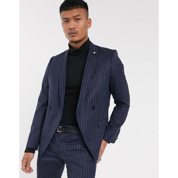 ツイステッドテイラー メンズ ジャケット&ブルゾン アウター Twisted Tailor suit jacket in navy pinstripe Navy