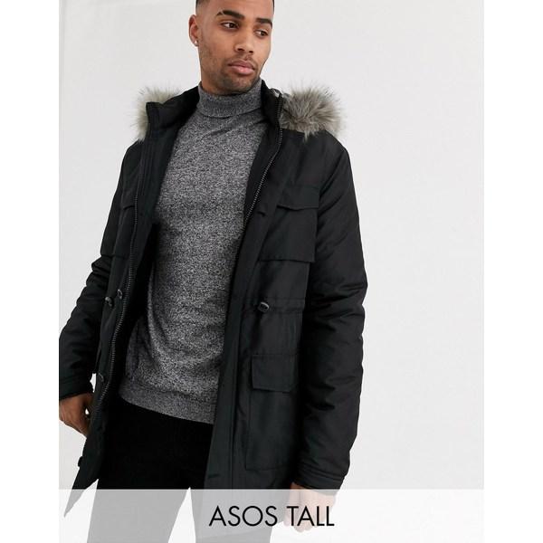 エイソス メンズ ジャケット&ブルゾン アウター ASOS DESIGN Tall hooded parka with detachable faux fur trim in black Black