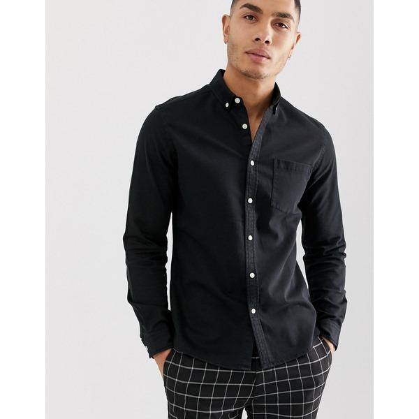 エイソス メンズ シャツ トップス ASOS DESIGN stretch slim denim shirt in black Black