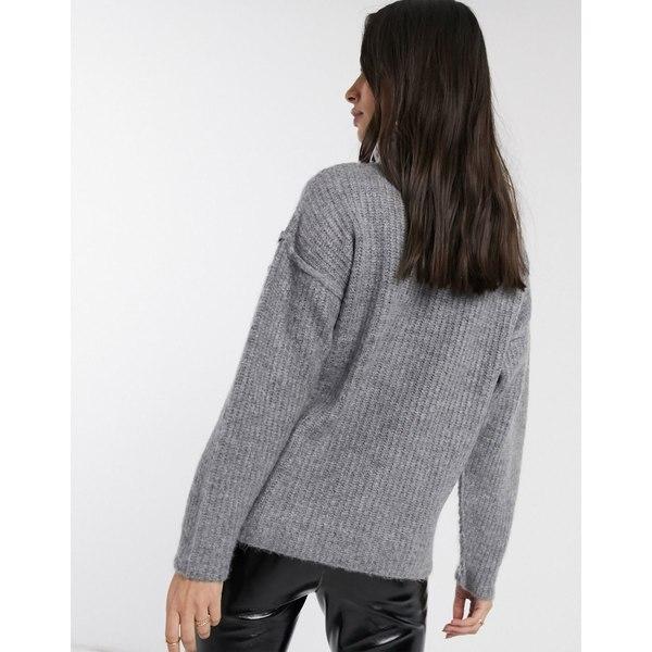 エイソス レディース ニット&セーター アウター ASOS DESIGN fluffy sweater with cowl neck Gray