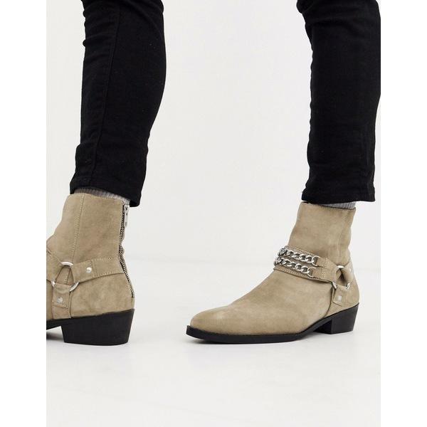 エイソス メンズ ブーツ&レインブーツ シューズ ASOS DESIGN stacked heel western chelsea boots in stone suede with buckle and chain detail Stone
