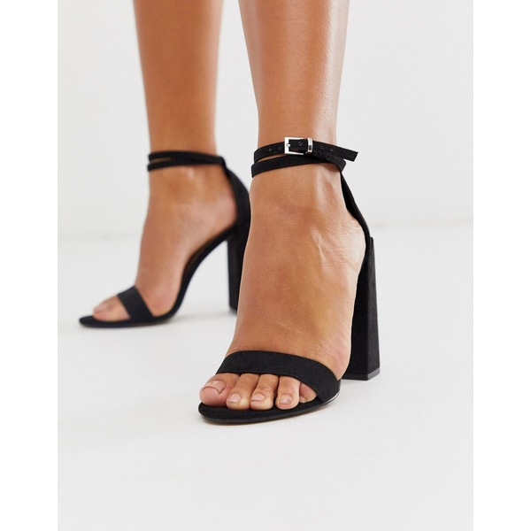 エイソス レディース ヒール シューズ ASOS DESIGN Highlight barely there block heeled sandals in black Black