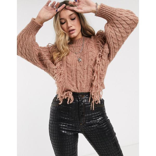 エイソス レディース ニット&セーター アウター ASOS DESIGN cable sweater with fringe detail Mink