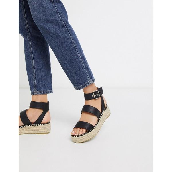 人気が高い  レイド レディース サンダル シューズ RAID Bellini espadrille sandals in black Black pu, ambiance 859ae456