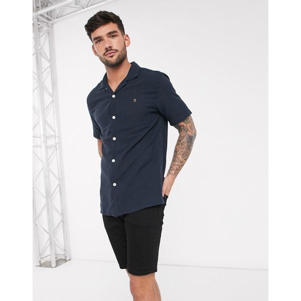 ファーラー メンズ シャツ トップス Farah Archie short sleeve shirt Navy