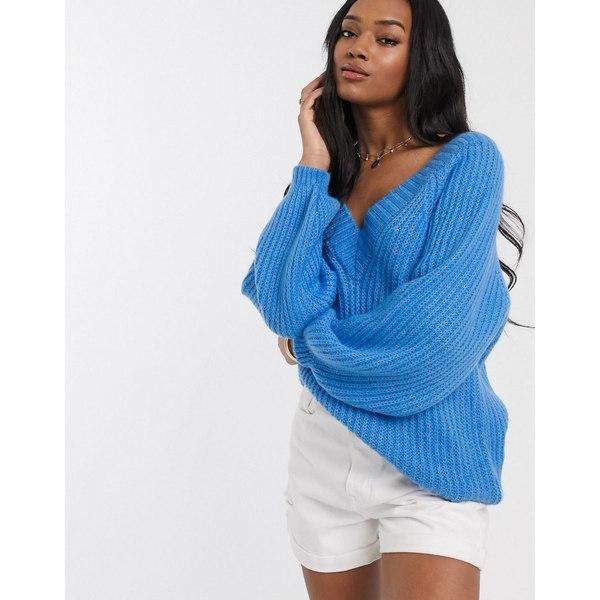 エイソス レディース ニット&セーター アウター ASOS DESIGN v neck fluffy oversized sweater Blue