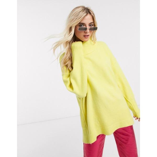 フリーピープル レディース ニット&セーター アウター Free People afterglow high neck sweater in yellow Lime