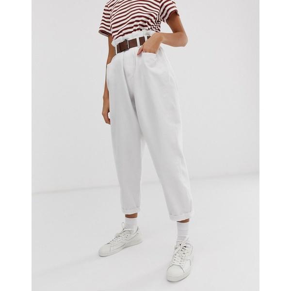 エイソス レディース デニムパンツ ボトムス ASOS DESIGN Oversized tapered boyfriend jeans with curved seams in optic white with belted paper bag waist detail Optic white
