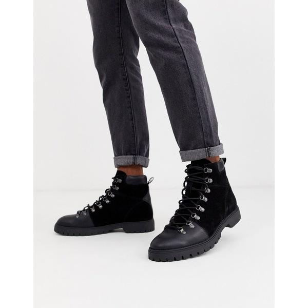 エイソス メンズ ブーツ&レインブーツ シューズ ASOS DESIGN hiking boots in black leather Black