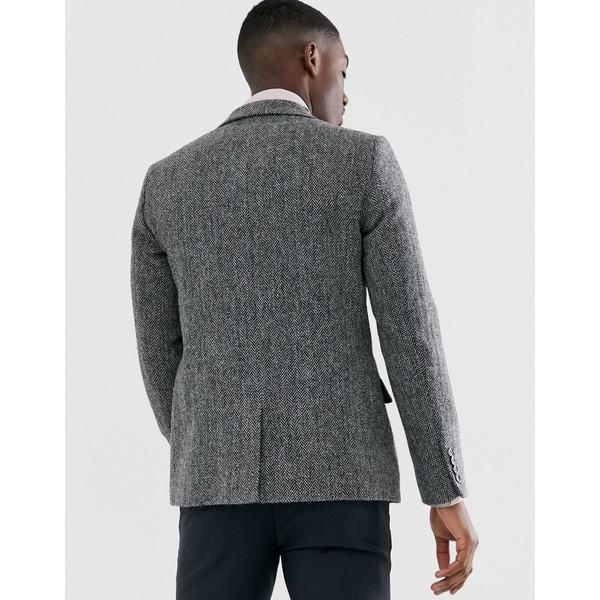 エイソス メンズ ジャケット&ブルゾン アウター ASOS DESIGN Harris Tweed slim blazer with wool herringbone in gray Gray