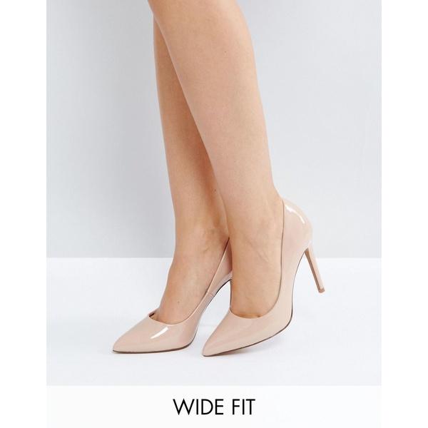 エイソス レディース ヒール シューズ ASOS DESIGN Wide Fit Paris pointed high heeled pumps in almond Almond