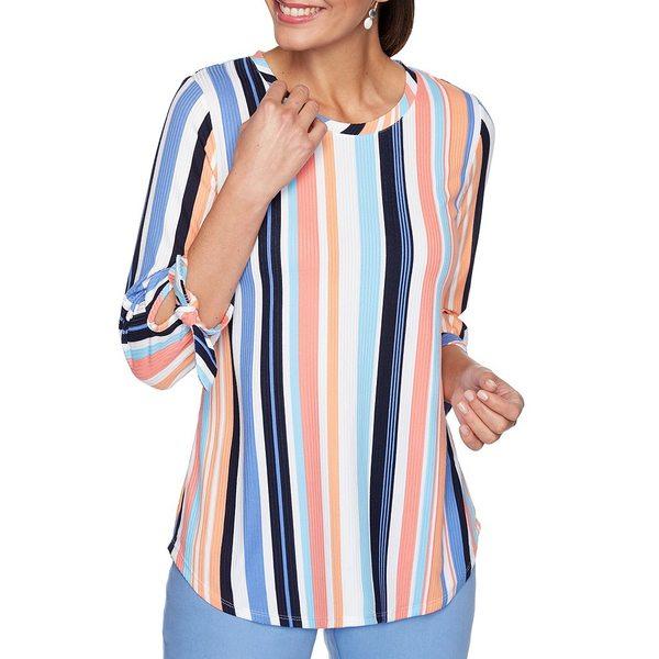 INC NEW Women/'s Striped 3//4 Sleeve Knit Casual Shirt Top TEDO