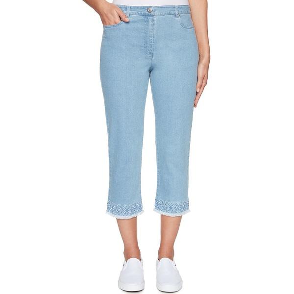 レディース Hem デニムパンツ Embroidered Size Soft Capri Jeans ルビーロード Frayed Petite Denim Blue ボトムス Sky Stretch