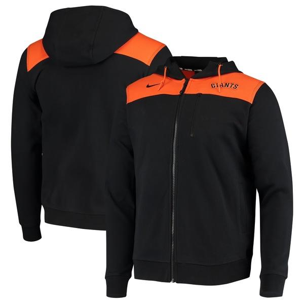 ナイキ メンズ ジャケット&ブルゾン アウター San Francisco Giants Nike AV Hoodie FullZip Jacket Black