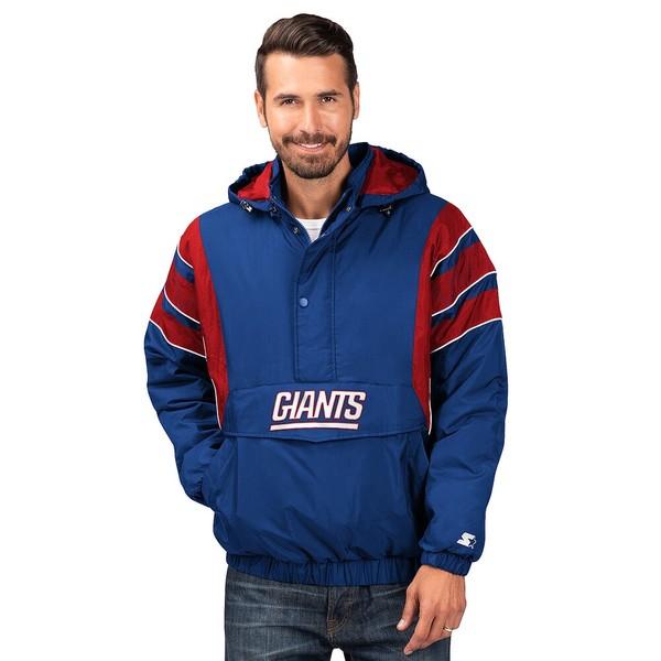 スターター メンズ ジャケット&ブルゾン アウター NFL The Impact 1/2 Zip Hooded Jacket NFL | New York Giants | Royal/Red