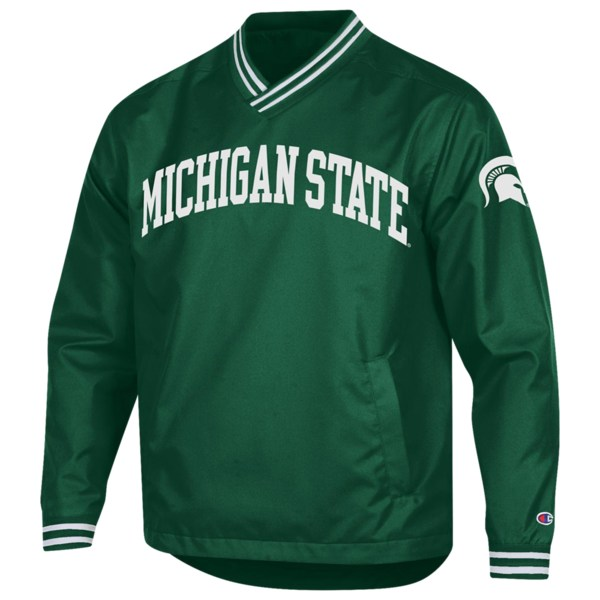 チャンピオン メンズ ジャケット&ブルゾン アウター College Scout Pullover Jacket NCAA | Michigan State Spartans | Dark Green/White