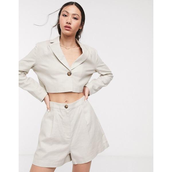 エイソス レディース カジュアルパンツ ボトムス ASOS DESIGN linen suit shorts Sand