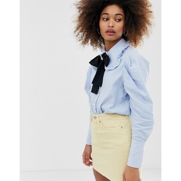 シスタージュン レディース シャツ トップス Sister Jane jewel button shirt with pussybow and pooch broach detail Blue